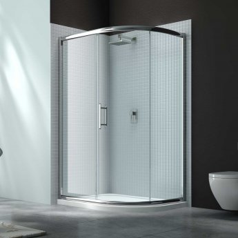Merlyn 6 Series Single Offset Quadrant Shower Enclosure with Tray 1200mm x 800mm RH - Clear Glass