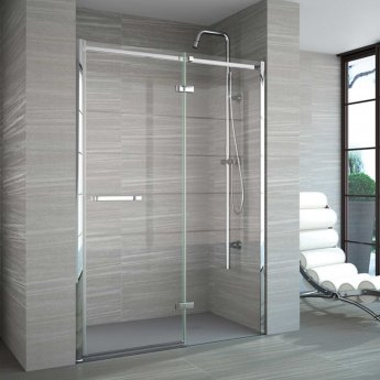 Merlyn 8 Series Frameless Inline Hinged Shower Door 1400mm Wide with Tray - 8mm Glass