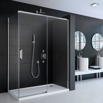Merlyn 8 Series Frameless Sliding Shower Door with Mstone Tray 1200mm Wide - 8mm Glass