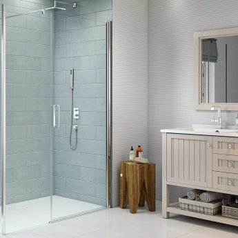 Merlyn 8 Series Frameless Inline Pivot Shower Door 1300mm Wide - 8mm Glass