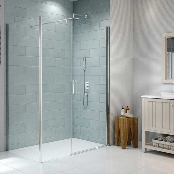 Merlyn 8 Series Frameless Pivot Shower Door and Inline Panel with Tray 1400mm Wide - 8mm Glass