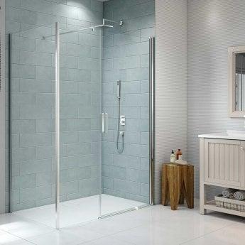 Merlyn 8 Series Frameless Inline Pivot Shower Door 1000mm Wide - 8mm Glass