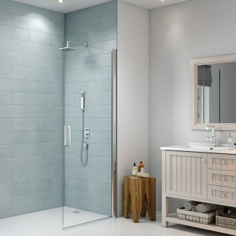 Merlyn 8 Series Frameless Pivot Shower Door 760mm with 760mm x 760mm Tray - 8mm Glass