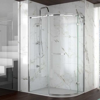 Merlyn 8 Series Frameless Offset Quadrant Shower Enclosure with RH Tray 1200mm x 800mm - 8mm Glass