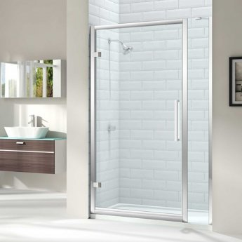 Merlyn 8 Series Hinged Shower Door 900mm Wide and 150mm Inline - 8mm Glass