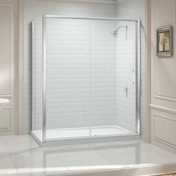 Merlyn 8 Series Sliding Shower Door 1500mm Wide - Clear Glass