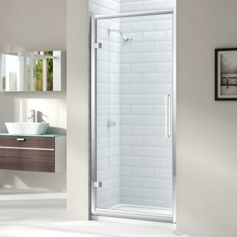 Merlyn 8 Series Hinged Shower Door with Tray 760mm Wide - Clear Glass