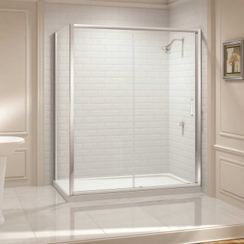 Merlyn 8 Series Sliding Shower Door with Touchstone Tray 1300mm Wide - 8mm Glass