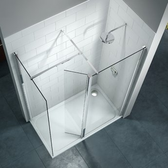 Merlyn 8 Series Swivel Walk-In Enclosure with End Panel and Tray - 1200mm x 800mm - Clear Glass