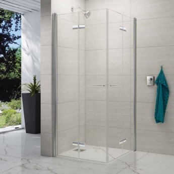 Merlyn 8 Series Double Folding Wet Room Glass Panel, 900mm x 900mm, 8mm Glass