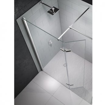 Merlyn 8 Series Hinged Wet Room Glass Panel with 1400mm x 900mm Tray - 1250mm Wide