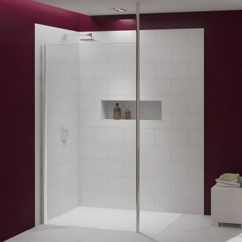 Merlyn 8 Series Vertical Brace Wet Room Glass Panel, 700mm Wide, 8mm Glass