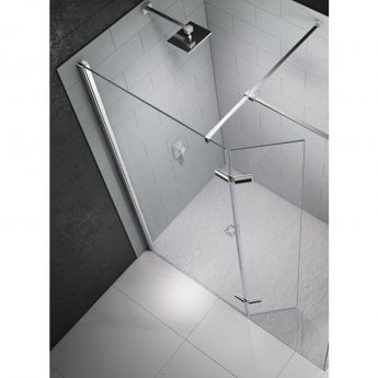 Merlyn 8 Series Wet Room Glass Panel with Hinged Swivel Panel, 1250mm Wide, 8mm Glass