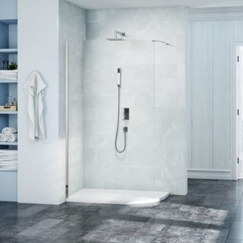Merlyn 8 Series Curved Wet Room Glass Panel 900mm Wide - 8mm Glass