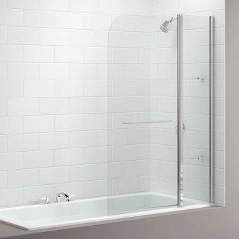 Merlyn 2-Panel Curved Bath Screen, 1500mm High x 1150mm Wide, Clear Glass