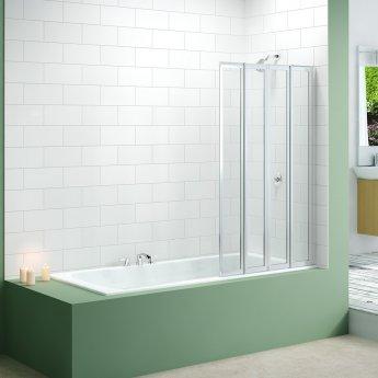 Merlyn 4-Fold Bath Screen, 1400mm High x 850mm Wide, Clear Glass
