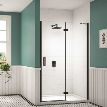 Merlyn Black Inline Recess Hinged Shower Door 1200mm Wide with Tray - 8mm Glass