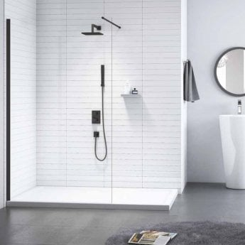 Merlyn Black Wet Room Glass Panel with Shower Tray 1200mm Wide - 8mm Glass