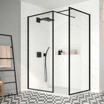 Merlyn Black Framed Wet Room Glass Panel 1200mm Wide - 8mm Glass