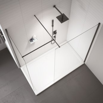 Merlyn Black Wet Room Glass Panel 1100mm Wide - 8mm Glass