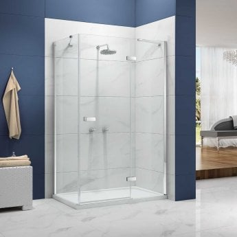 Merlyn Ionic Essence Hinged Shower Door and Inline Panel, 800mm Wide, 8mm Glass