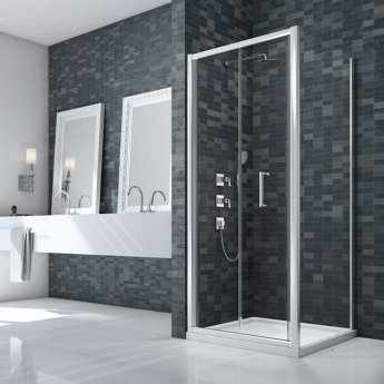 Merlyn Ionic Essence Framed Bi-Fold Shower Door 900mm Wide - 8mm Glass