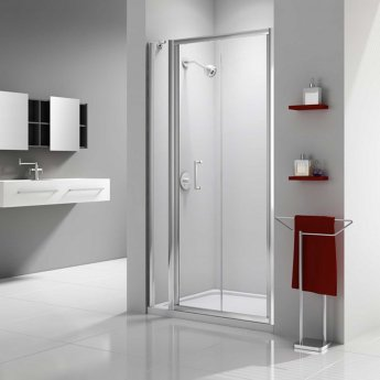 Merlyn Ionic Express Bi-Fold Shower Door and Inline Panel, 1080mm-1140mm Wide, 6mm Glass