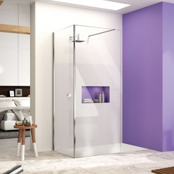 Merlyn Ionic Corner Profile Walk-In Shower Enclosure 1600mm x 800mm (1100mm+800mm Glass) with Tray