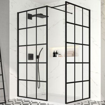 Merlyn Black Squared Showerwall 900mm Wide 8mm Glass - Including Tray
