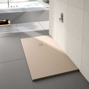 Merlyn TrueStone Rectangular Shower Tray with Waste 1000mm x 800mm - Sandstone