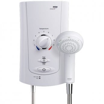 Mira Advance Low Pressure Thermostatic Electric Shower with Kit and Showerhead, 9.0kW, White/Chrome