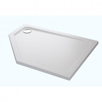 Mira Flight Low Pentagonal Shower Tray with Waste, Right Handed, 1200mm X 900mm - Flat Top