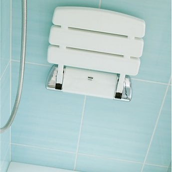 Mira Wall Mounted Shower Seat - White/Chrome