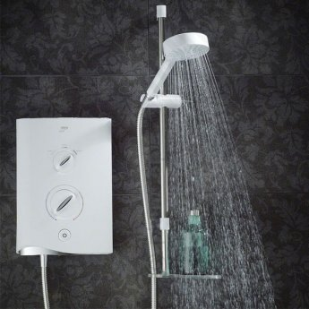 Mira Sport Multi-Fit Electric Shower with Kit and Showerhead, 9.8kW, White/Chrome