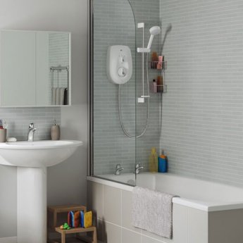 Mira Vie Electric Shower with Kit and Showerhead, 8.5kW, White/Chrome