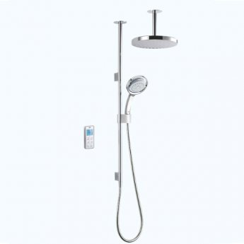 Mira Vision Concealed Thermostatic Digital Shower Mixer with Dual Ceiling Fed, Pumped, White/Chrome