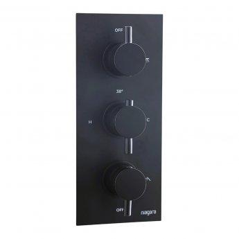 Niagara Equate Round Triple Thermostatic Concealed Shower Valve - Matt Black