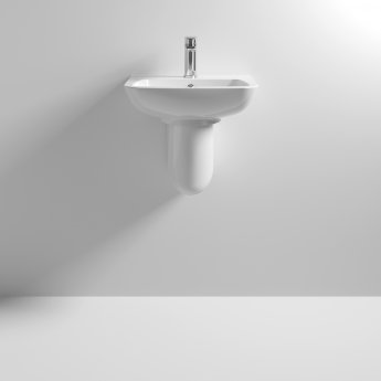 Nuie Ambrose Basin and Semi Pedestal 450mm Wide 1 Tap Hole
