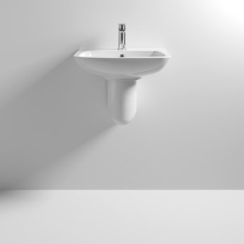 Nuie Ambrose Basin and Semi Pedestal 500mm Wide 1 Tap Hole