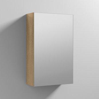 Nuie Athena 1-Door Mirrored Bathroom Cabinet 715mm H x 450mm W - Natural Oak