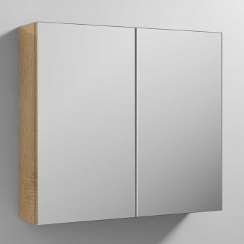 Nuie Athena Mirrored Cabinet (50/50) 800mm Wide - Natural Oak