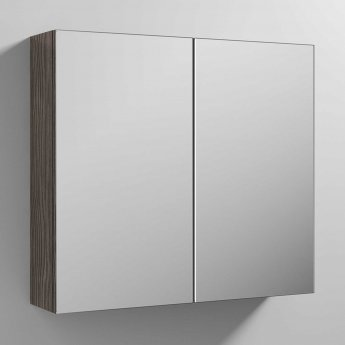 Nuie Athena Mirrored Cabinet (50/50) 800mm Wide - Brown Grey Avola