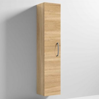 Nuie Athena Wall Hung 1-Door Tall Unit 300mm Wide - Natural Oak