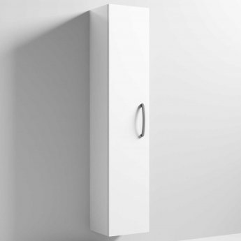 Nuie Athena Wall Hung 1-Door Tall Unit 300mm Wide - Gloss White