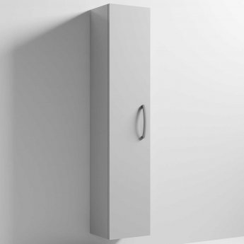 Nuie Athena Wall Hung 1-Door Tall Unit 300mm Wide - Gloss Grey Mist