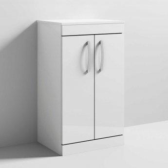 Nuie Athena Floor Standing 2-Door Vanity Unit and Worktop 500mm Wide - Gloss White