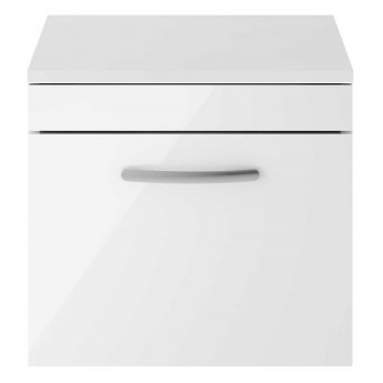 Nuie Athena Wall Hung 1-Drawer Vanity Unit and Worktop 500mm Wide - Gloss White