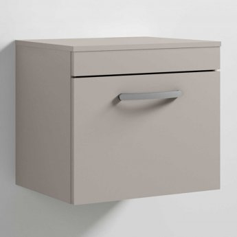 Nuie Athena Wall Hung 1-Drawer Vanity Unit and Worktop 500mm Wide - Stone Grey