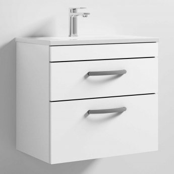 Nuie Athena Wall Hung 2-Drawer Vanity Unit with Basin 2 Gloss White - 600mm Wide