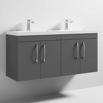 Nuie Athena Wall Hung 4-Door Vanity Unit with Double Basin 1200mm Wide - Gloss Grey